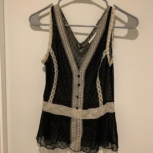 Worthington Black and Cream Lace Tank Top